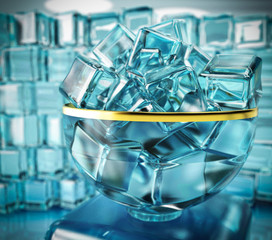 3d illustration of ice cube in bow vase on ice wall background with window and light reflexion