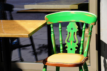 Retro chair of an outdoors cafe