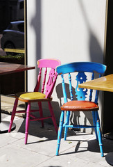 Retro chairs of an outdoors cafe.