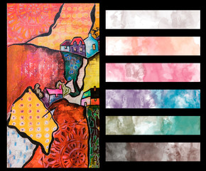 Landscape with Artistic Color Palette Guide for semi-abstract art in mix media style