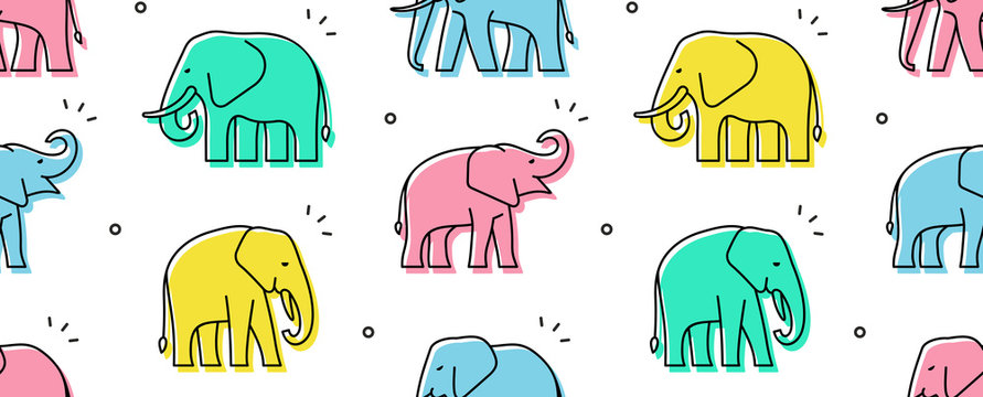 Seamless pattern with Elephants. isolated on white background