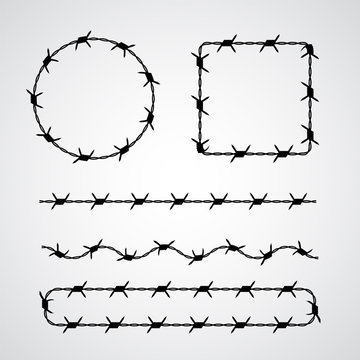 Barbed wire vector brush. Frames and borders for prison or incarceration concept isolated on white. Fight for freedom, refugees concept. Ominous silhouette of totalitarian government regime.