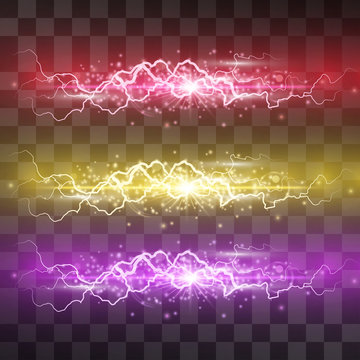 Lightning vector light effect set. Decorative neon glowing lighting bolt, electrical discharge on transparent background with magical halo and sparkling stardust. Thunderbolt stream. Bursting flash.