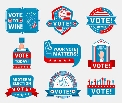 Encourage voting badges and stickers vector templates set