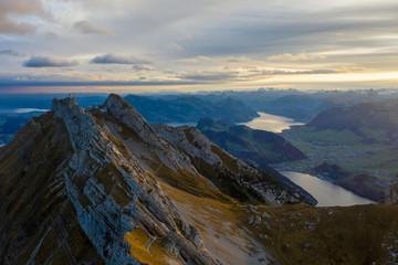 Aerial view of Mount Pilatus during sunrise. Autumn Switzerland