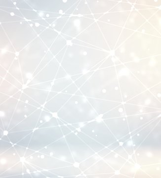 3d defocused communication network background. Light silver sparkler empty space. Polygonal texture. Abstract pattern.