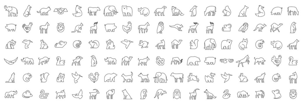 Linear collection of Animal icons. Animal icons set. Isolated on White background