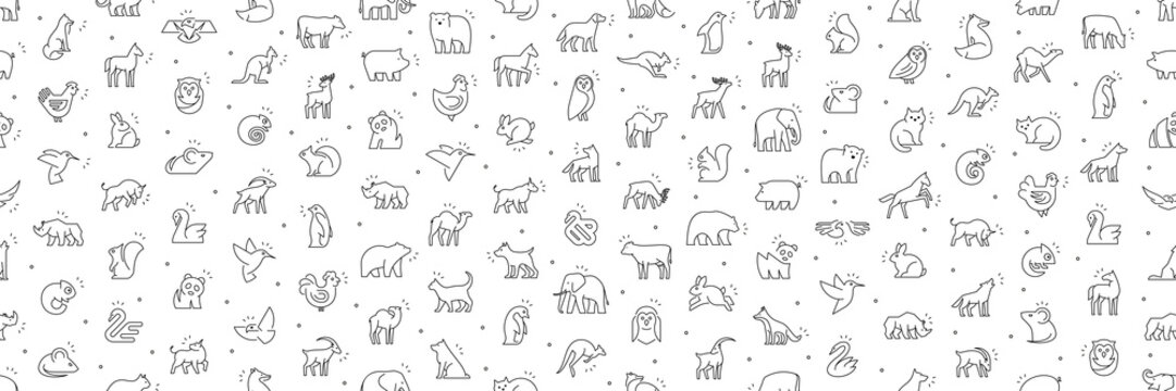 Seamless pattern with Animals icons. Animal icons set. Isolated on White background