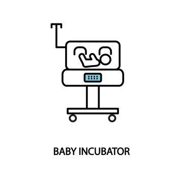 Baby incubator line icon. Neonatal intensive care unit. Premature