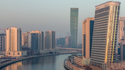 Foto op Canvas Verenigde Staten The rhythm of the city of Dubai from night to morning aerial timelapse