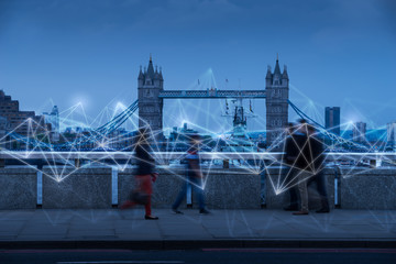 Movement of people in London as network & HR concept