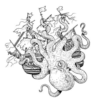 Giant octopus attacks ship. Gigantic mollusk against pirates. Fantasy drawing.