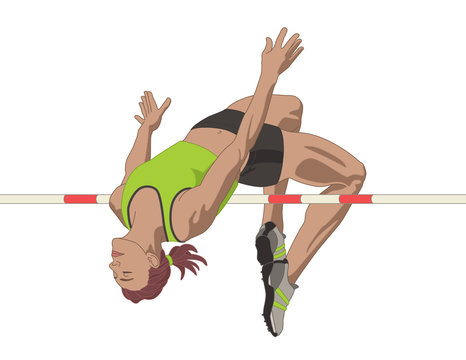 high jumper female clearing bar isolated on a white background