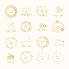 Collection of hand drawn golden floral pine and fir branches, constellations and stars in branding badges for winter invitations. Gold wreaths, frames and borders for feminine design. Vector isolated.