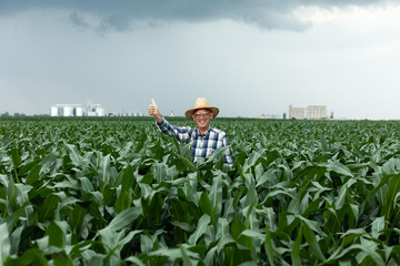 Senior farmer standing in corn field showing thumbs up.