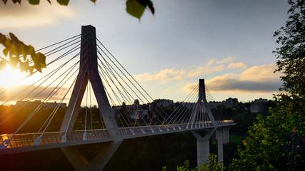 Pont à câbles suspendu de la Poya à Fribourg, Suisse