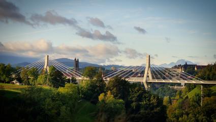 Panorama de Fribourg, Pont de la Poya et Cathédrale de St-Nicolas, Fribourg, Suisse