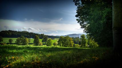 Campagnes fribourgeoise et activités agricoles près de Fribourg, Suisse