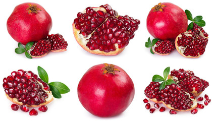 Collection of fresh pomegranate on white background