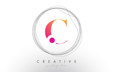 Artistic C Letter Logo Design With Creative Circular Wire Frame around it