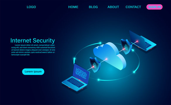 Internet security with data transfer information. protects data from thefts data and hacker attacks. isometric flat design. Vector illustration