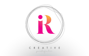 Artistic R Letter Logo Design With Creative Circular Wire Frame around it