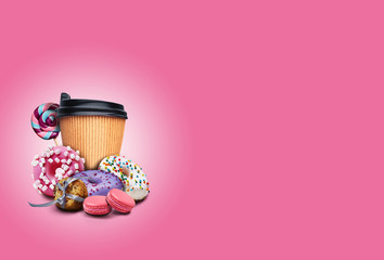 Delicious donuts with sprinkle, macarons, cookies and paper cup of coffee on pink background. Unhealthy, but tasty sweets. Copy space. Close-up.