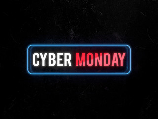 Cyber Monday text neon light on on a rusty metal plate