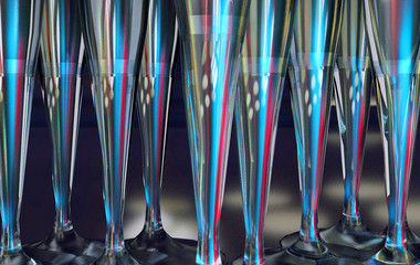 3d illustration of ice vine glass texture with window and light reflexion