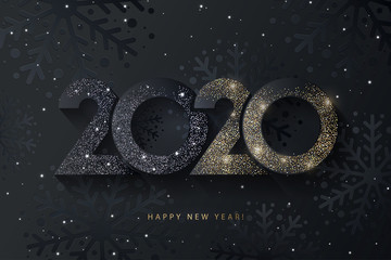 Happy New Year 2020 beautiful sparkling design of numbers on black background with texture of black snowflakes and shining falling snow. Trendy modern  winter banner, poster or greeting card template Wall mural