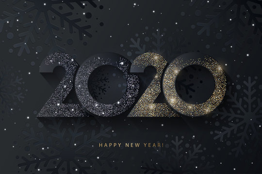 Happy New Year 2020 beautiful sparkling design of numbers on black background with texture of black snowflakes and shining falling snow. Trendy modern  winter banner, poster or greeting card template