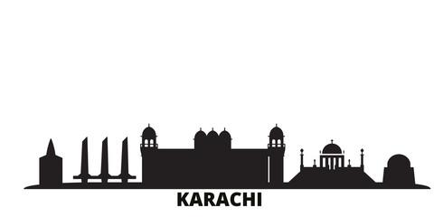 Pakistan, Karachi city skyline isolated vector illustration. Pakistan, Karachi travel cityscape with landmarks Fototapete