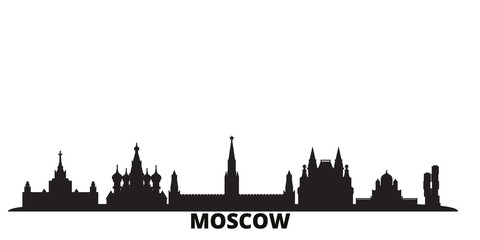 Russia, Moscow city skyline isolated vector illustration. Russia, Moscow travel cityscape with landmarks