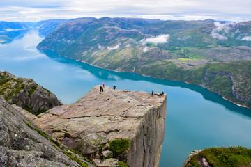 Prekestolen or Pulpit Rock and Lysefjord Landscape. Norway.