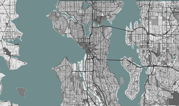 Detailed map of Seattle, USA