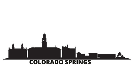 United States, Colorado Springs city skyline isolated vector illustration. United States, Colorado Springs travel cityscape with landmarks