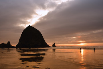 Haystack Rock at Cannon Beach on the Oregon Coast, taken in November