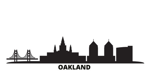 United States, Oakland city skyline isolated vector illustration. United States, Oakland travel cityscape with landmarks