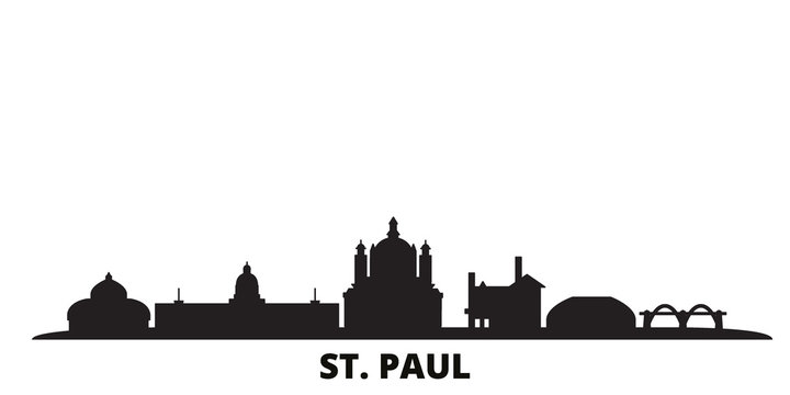 United States, St. Paul city skyline isolated vector illustration. United States, St. Paul travel cityscape with landmarks