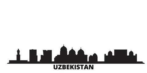 Deurstickers Uzbekistan city skyline isolated vector illustration. Uzbekistan travel cityscape with landmarks