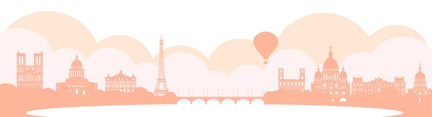 Panorama of Paris flat style vector illustration. Cartoon Paris architecture symbols and objects. Paris city skyline vector background. Flat trendy illustration Fotomurales