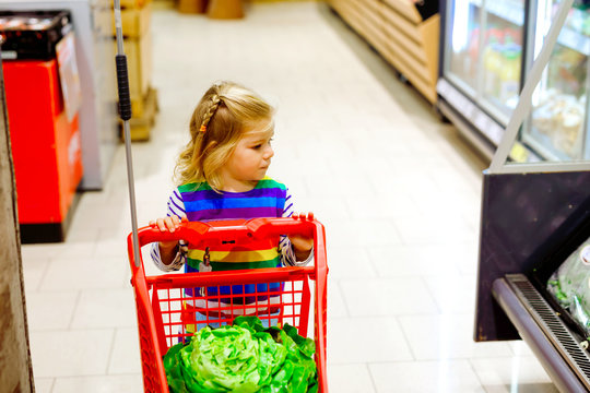 Cute todler girl pushing shopping cart in supermarket. Little child buying fruits. Kid grocery shopping. Adorable baby kid with trolley choosing fresh vegetables in local store.