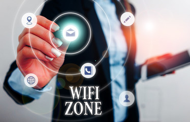 Text sign showing Wifi Zone. Business photo showcasing provide wireless highspeed Internet and network connections