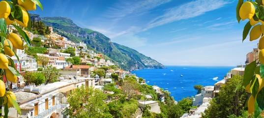 Beautiful Positano and clear blue sea on Amalfi Coast in Campania, Italy. Amalfi coast is popular travel and holyday destination in Europe. Wall mural
