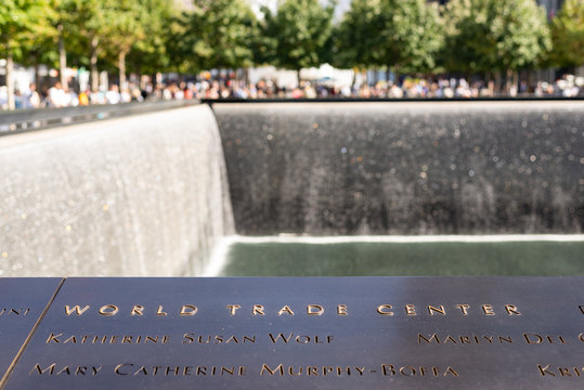 Names inscribed in bronze on the 9/11 World Trade Center Memorial. Taken on September the 25th, 2019.