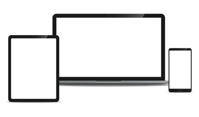 Mock up set of Laptop computer, Tablet and Smartphone realistic style mockup device set icons for user interface applications and responsive web design with a blank screen.