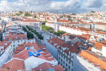 """Aussichten vom """"Elevador de Santa Justa"""" auf Lissabon"""