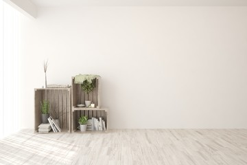 Empty room in white color with modern shelf and home decor. Scandinavian interior design. 3D illustration