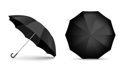 Black blank umbrella icon set isolated on white background