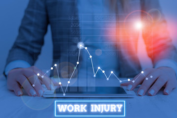 Text sign showing Work Injury. Business photo showcasing illness caused by events or exposures in the work environment